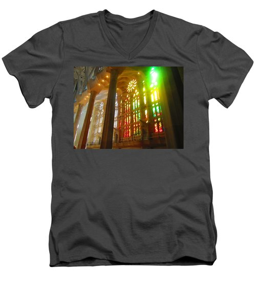 Men's V-Neck T-Shirt featuring the photograph Light Of Gaudi by Christin Brodie