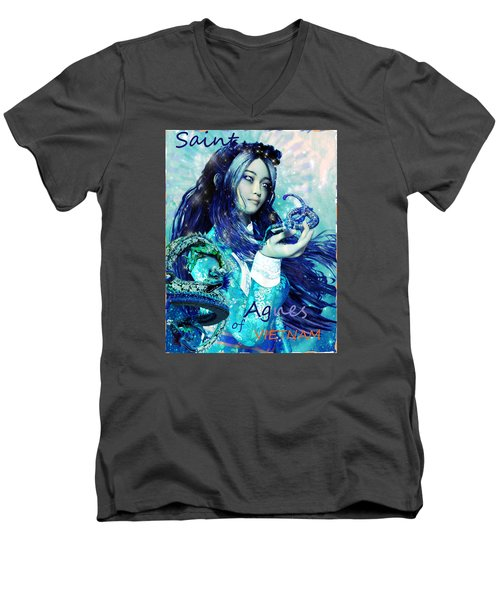 Men's V-Neck T-Shirt featuring the painting Light Of Vietnam Saint Agnes by Suzanne Silvir
