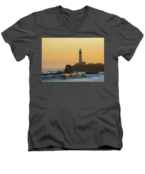 Men's V-Neck T-Shirt featuring the photograph Light On The Waves by Alex Lapidus