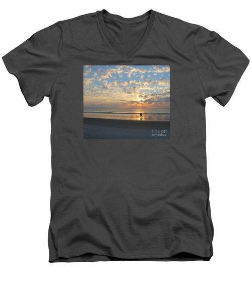 Light Run Men's V-Neck T-Shirt by LeeAnn Kendall
