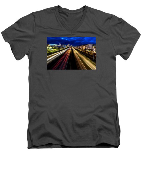 Men's V-Neck T-Shirt featuring the photograph Light Streaks On 705 by Rob Green