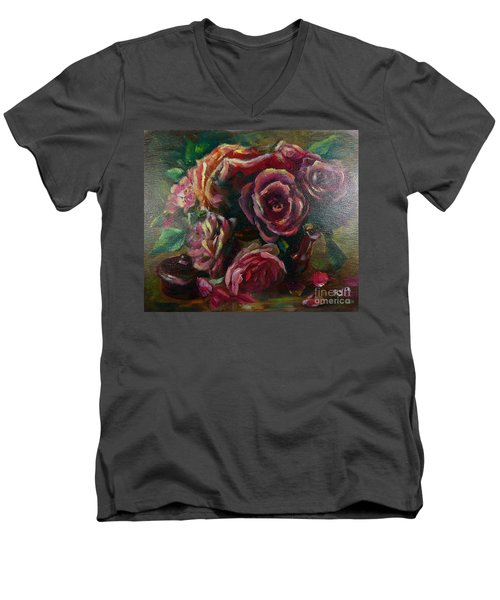 Men's V-Neck T-Shirt featuring the painting Light Striking Deep Red Roses by Ryn Shell