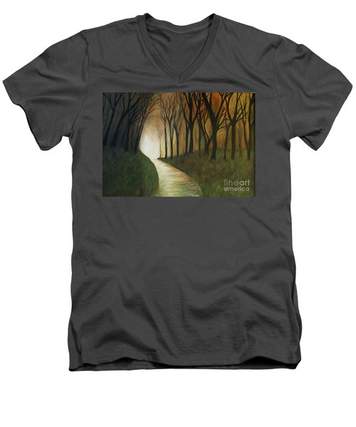Men's V-Neck T-Shirt featuring the painting Light The Path by Christy Saunders Church