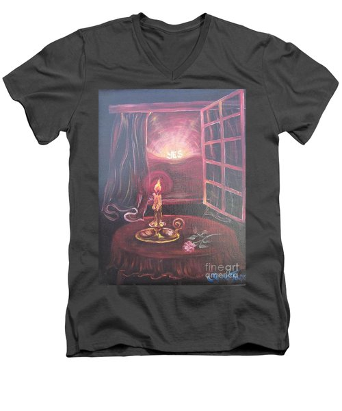 Flying Lamb Productions      Light The Yes Candle Men's V-Neck T-Shirt