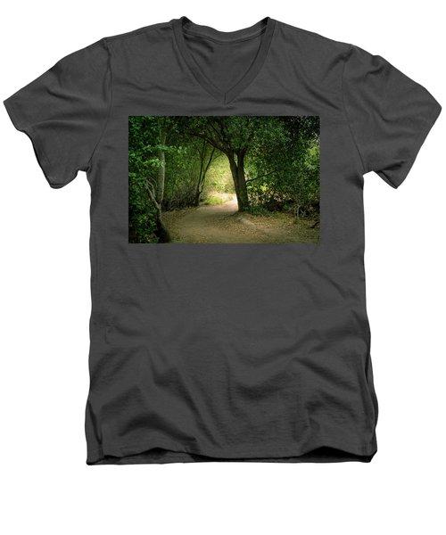 Light Through The Tree Tunnel Men's V-Neck T-Shirt