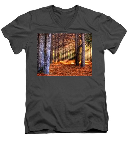 Men's V-Neck T-Shirt featuring the photograph Light Thru The Trees by Sumoflam Photography