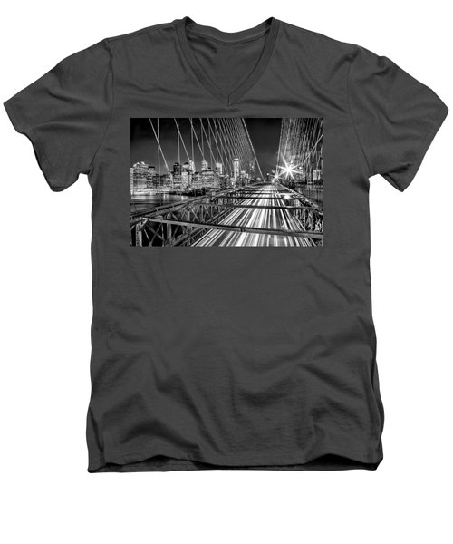 Light Trails Of Manhattan Men's V-Neck T-Shirt by Az Jackson
