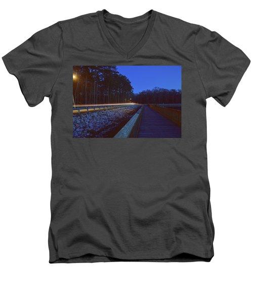 Light Trails On Elbow Road Men's V-Neck T-Shirt