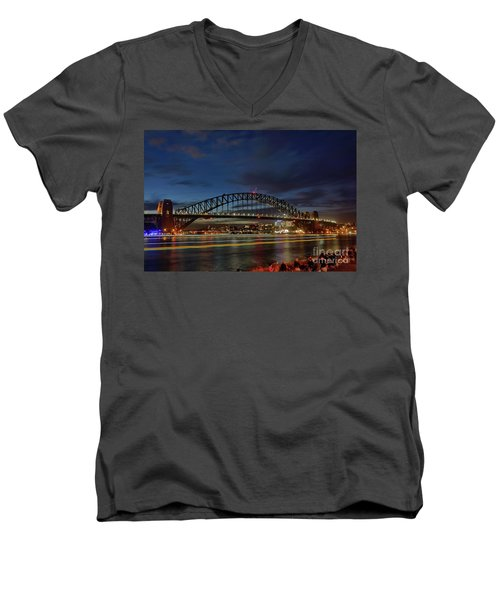 Men's V-Neck T-Shirt featuring the photograph Light Trails On The Harbor By Kaye Menner by Kaye Menner