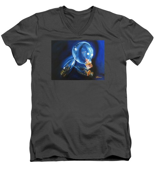 Men's V-Neck T-Shirt featuring the painting Light Up My Life by LaVonne Hand