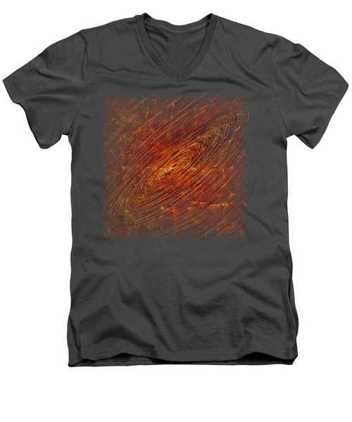 Men's V-Neck T-Shirt featuring the mixed media Light Years by Sami Tiainen