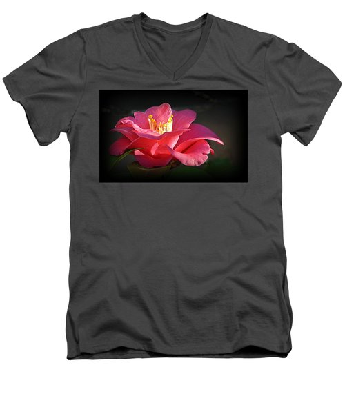 Men's V-Neck T-Shirt featuring the photograph Lighted Camellia by AJ Schibig