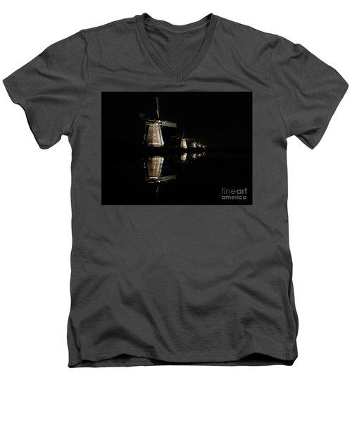 Lighted Windmills In The Black Night Men's V-Neck T-Shirt