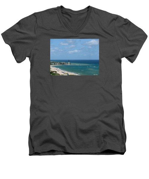 Lighthouse And Kiteboarding Men's V-Neck T-Shirt