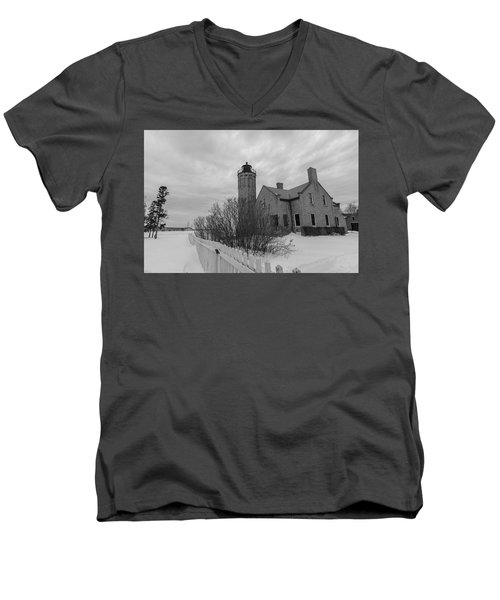 Men's V-Neck T-Shirt featuring the photograph Lighthouse And Mackinac Bridge Winter Black And White  by John McGraw