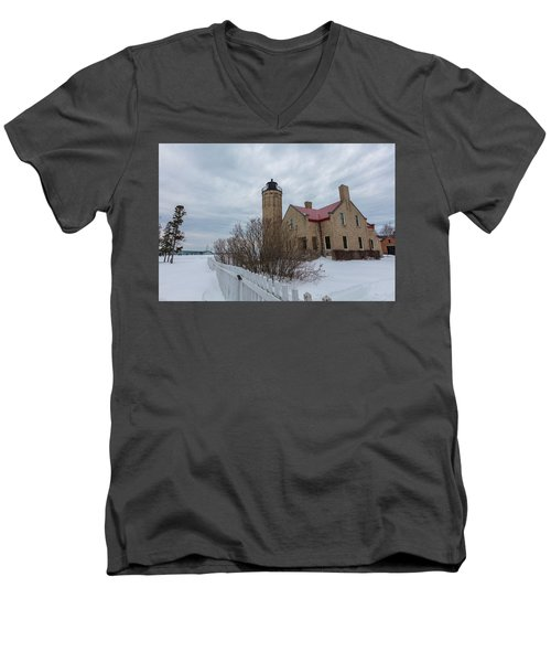 Men's V-Neck T-Shirt featuring the photograph Lighthouse And Mackinac Bridge Winter by John McGraw