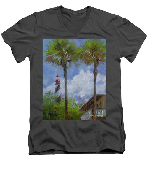 Lighthouse And Palms Men's V-Neck T-Shirt by Mary Hubley