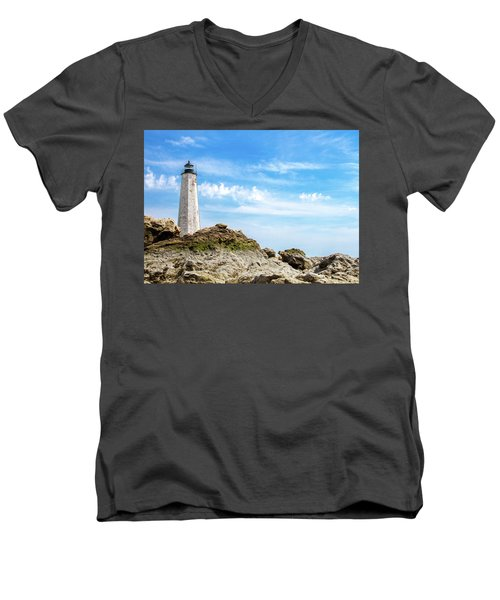 Men's V-Neck T-Shirt featuring the photograph Lighthouse And Rocks by Dawn Romine