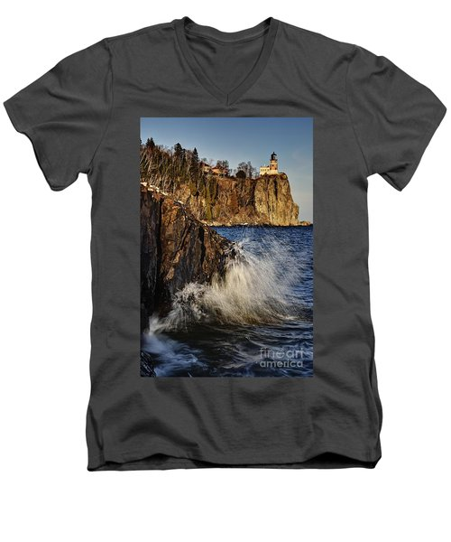 Men's V-Neck T-Shirt featuring the photograph Lighthouse And Spray by Larry Ricker