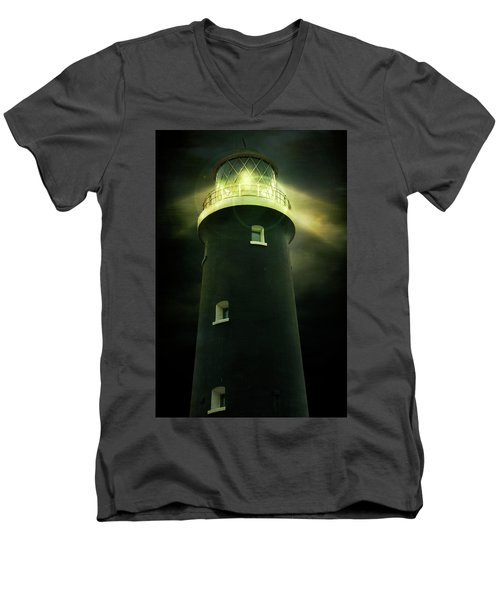 Lighthouse At Night Men's V-Neck T-Shirt