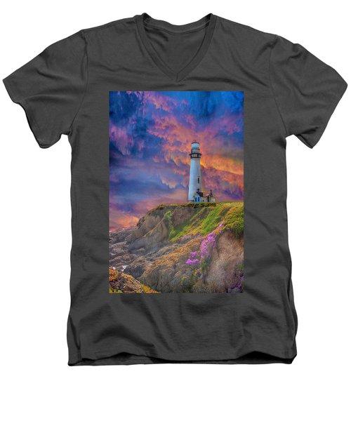 Lighthouse At Pigeon Point Men's V-Neck T-Shirt