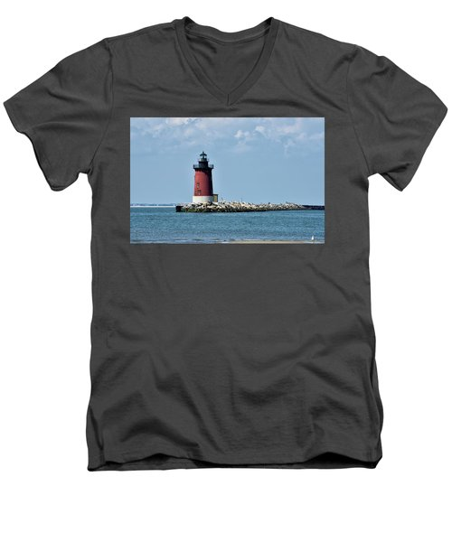 Men's V-Neck T-Shirt featuring the photograph Delaware Breakwater East End Lighthouse - Lewes Delaware by Brendan Reals