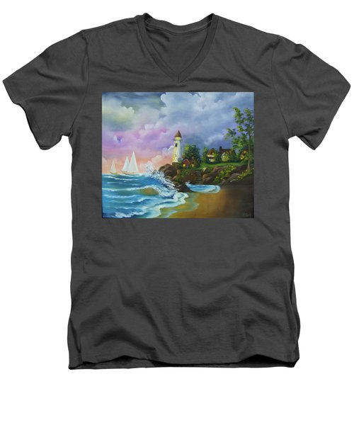 Lighthouse By The Village Men's V-Neck T-Shirt