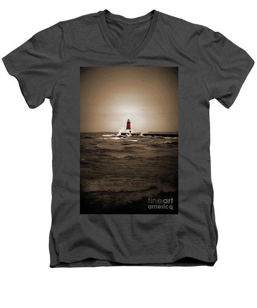 Lighthouse Glow Sepia Spot Color Men's V-Neck T-Shirt