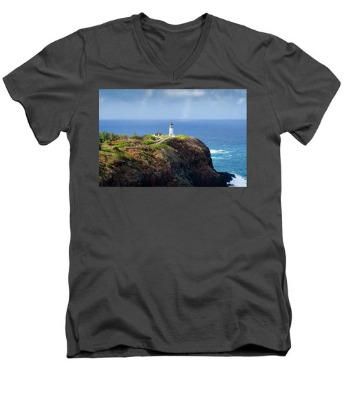 Lighthouse On A Cliff Men's V-Neck T-Shirt
