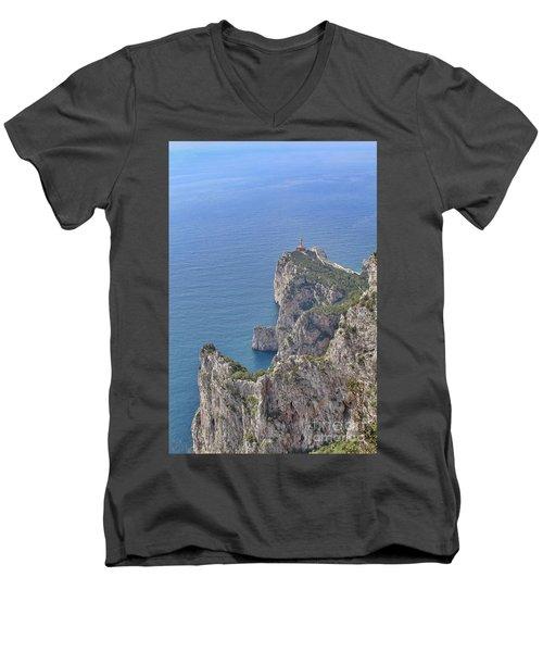 Lighthouse On The Cliff Men's V-Neck T-Shirt