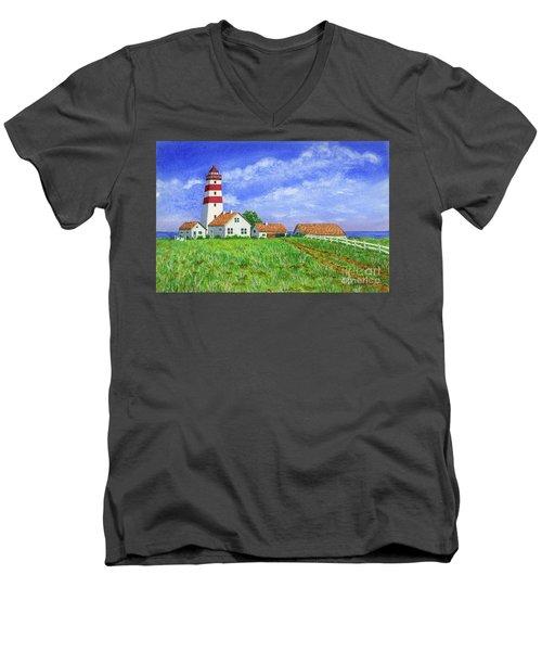 Lighthouse Pasture Men's V-Neck T-Shirt by Val Miller