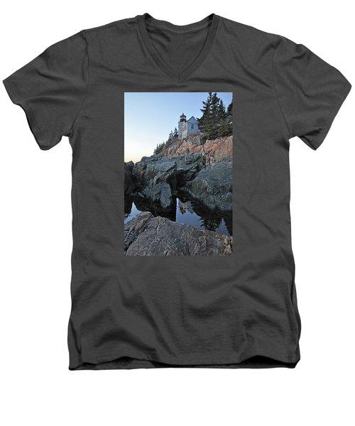 Men's V-Neck T-Shirt featuring the photograph Lighthouse Reflection by Glenn Gordon
