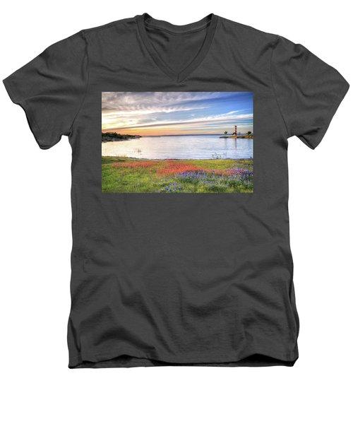 Lighthouse Sunset At Lake Buchanan Men's V-Neck T-Shirt by Lynn Bauer