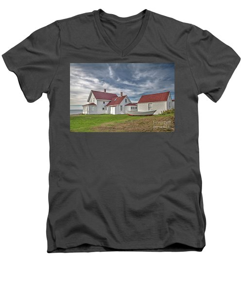 Keepers House At The Monheagn Lighthouse Men's V-Neck T-Shirt