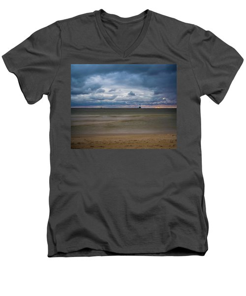 Lighthouse Under Brewing Clouds Men's V-Neck T-Shirt