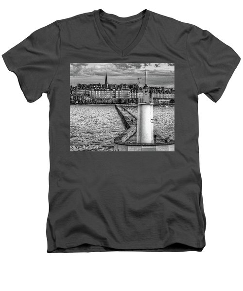 Men's V-Neck T-Shirt featuring the photograph Lighthouse Walkway by Elf Evans