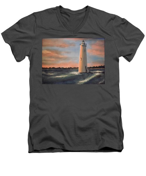 Lighthouse Waves Men's V-Neck T-Shirt