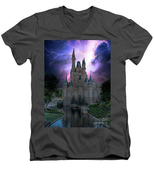 Lighting Over The Castle Men's V-Neck T-Shirt