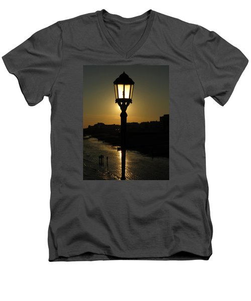 Lighting Up The Beach Men's V-Neck T-Shirt by John Topman