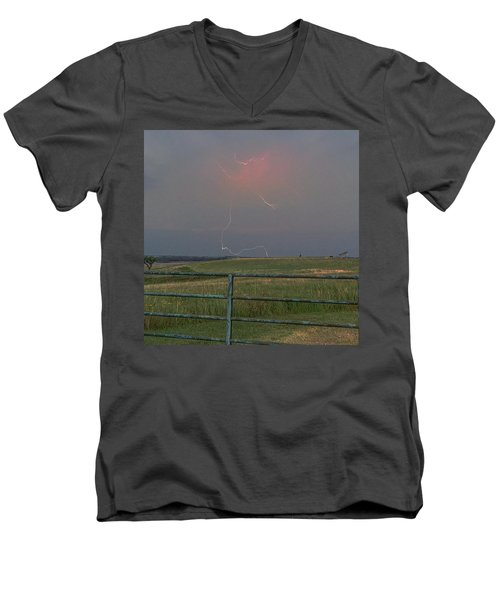 Lightning Bolt On A Scenic Route Men's V-Neck T-Shirt