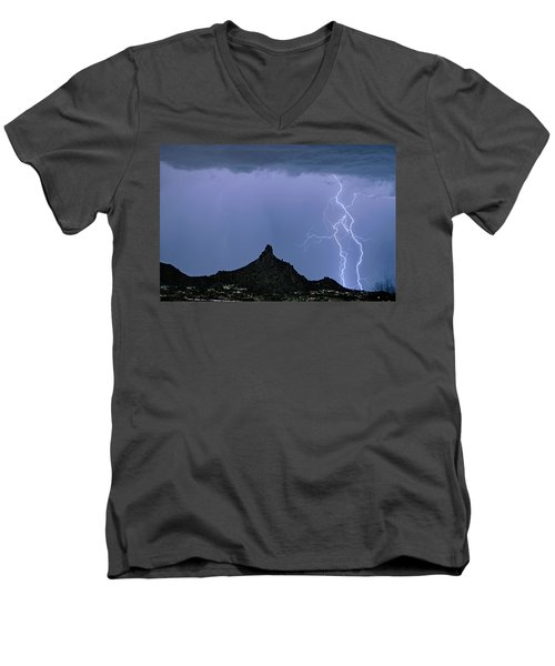 Men's V-Neck T-Shirt featuring the photograph Lightning Bolts And Pinnacle Peak North Scottsdale Arizona by James BO Insogna