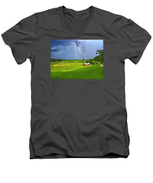 Lightning Storm Over Jenne Farm Men's V-Neck T-Shirt