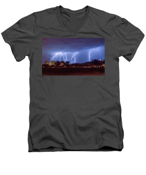 Lightning Over Laveen Men's V-Neck T-Shirt by Kimo Fernandez