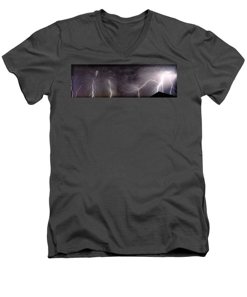 Lightning Over Perris Men's V-Neck T-Shirt