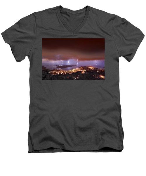 Lightning Over Water Island Men's V-Neck T-Shirt