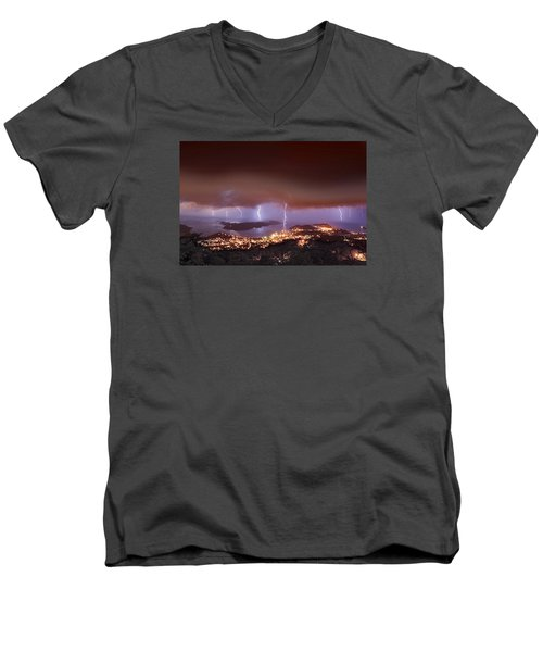 Lightning Over Water Island Men's V-Neck T-Shirt
