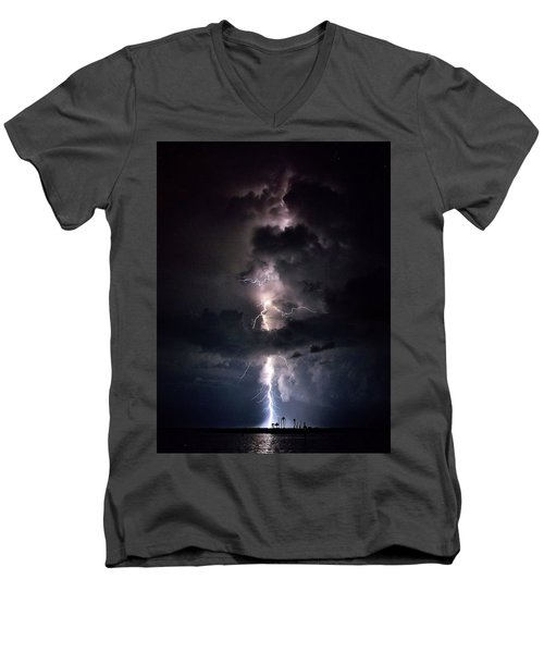 Men's V-Neck T-Shirt featuring the photograph Lightning by Richard Zentner