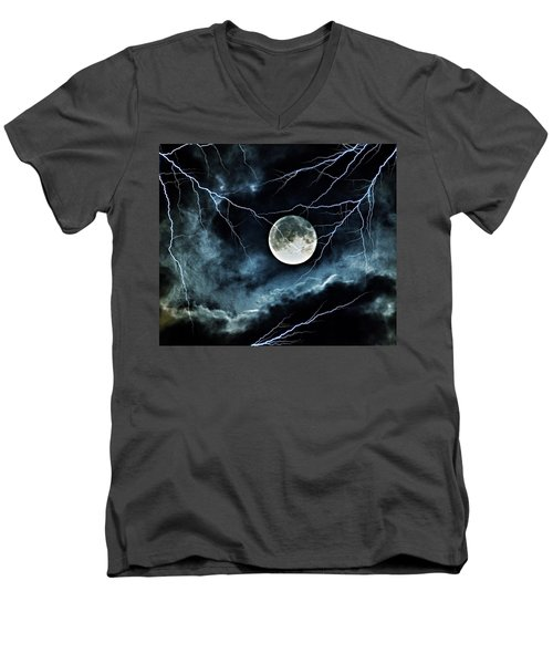 Lightning Sky At Full Moon Men's V-Neck T-Shirt