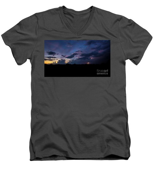 Men's V-Neck T-Shirt featuring the photograph Lightning Sunset by Brian Jones