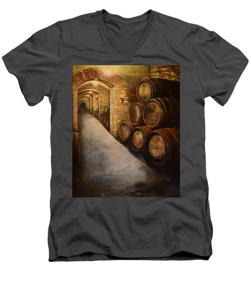 Lights In The Wine Cellar - Chateau Meichtry Vineyard Men's V-Neck T-Shirt